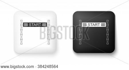 Black And White Starting Line Icon Isolated On White Background. Start Symbol. Square Button. Vector