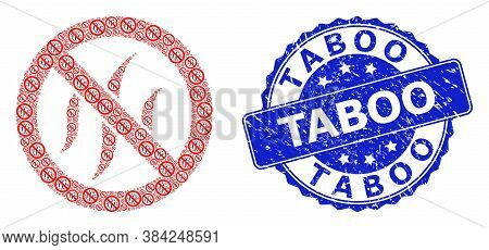 Taboo Scratched Round Seal Imitation And Vector Recursion Mosaic Forbidden Flavors. Blue Seal Includ