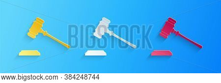 Paper Cut Judge Gavel Icon Isolated On Blue Background. Gavel For Adjudication Of Sentences And Bill