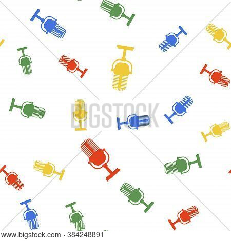 Color Microphone Icon Isolated Seamless Pattern On White Background. On Air Radio Mic Microphone. Sp