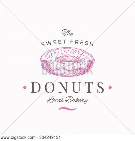 Confectionary Abstract Sign, Symbol Or Logo Template. Hand Drawn Sweet Donut And Typography. Local B
