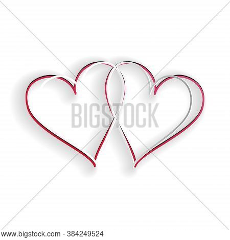 Paper Cut Two Linked Hearts Icon Isolated On White Background. Heart Two Love. Romantic Symbol Linke