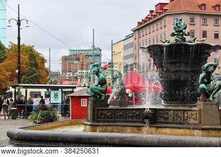Gothenburg, Sweden - August 27, 2018: People Visit Jarntorget Square In Haga District In Gothenburg,