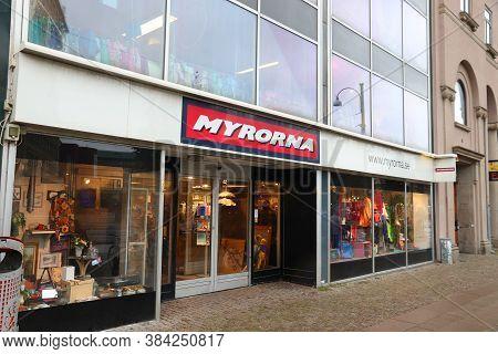 Gothenburg, Sweden - August 27, 2018: Myrorna Secondhand Charity Shop In Gothenburg, Sweden. Myrorna