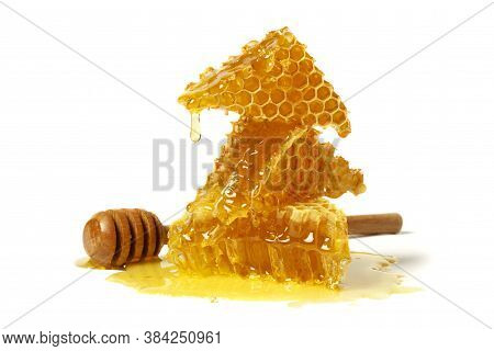 Honeycomb And Curative Propolis Isolated On White Background. Wild Bee Honey.
