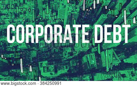 Corporate Debt Theme With Aerial View Of Manhattan New York Skyscrapers