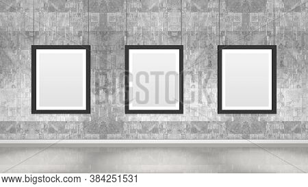 Art Museum Wall With Three Vertical Frames. Industrial Style Modern Museum. 3d Rendering.