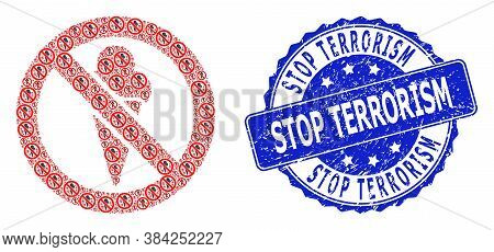 Stop Terrorism Dirty Round Stamp And Vector Recursive Composition Forbidden Ice-cream. Blue Stamp Co