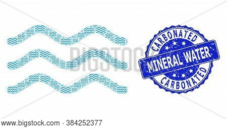 Carbonated Mineral Water Scratched Round Stamp Seal And Vector Recursive Composition Water Surface.