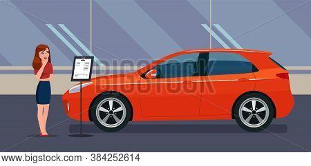 A Woman Chooses A Car In A Car Dealership. Vector Illustration.