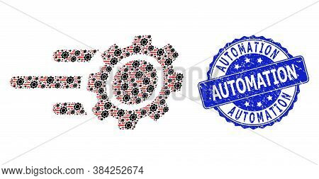 Automation Dirty Round Stamp Seal And Vector Recursive Mosaic Rush Gear. Blue Seal Contains Automati