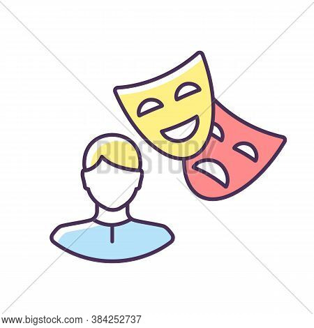 Actor Rgb Color Icon. Theater Performer. Drama Professional. Artist With Theatrical Mask. Broadway S