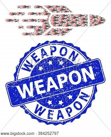Weapon Textured Round Seal Print And Vector Recursive Mosaic Missile. Blue Seal Contains Weapon Tag