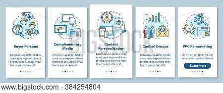 Social Media Marketing Onboarding Mobile App Page Screen With Concepts. Buyer Persona, Complementary