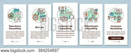 Storytelling Marketing Onboarding Mobile App Page Screen With Concepts. Data-driven, Customer-led Ap