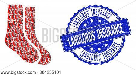 Landlords Insurance Rubber Round Stamp Seal And Vector Recursive Collage Socks. Blue Stamp Seal Incl
