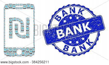 Bank Grunge Round Stamp Seal And Vector Recursive Composition Shekel Mobile Bank. Blue Stamp Has Ban