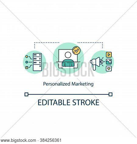 Personalized Marketing Concept Icon. Social Media Coverage Idea Thin Line Illustration. User Experie