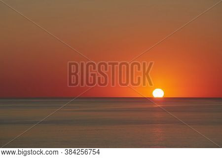 Sea Sunset Of Golden Hour. Nature Landscape And Evening Colours. Crystal Ocean Water. Panoramic Hori