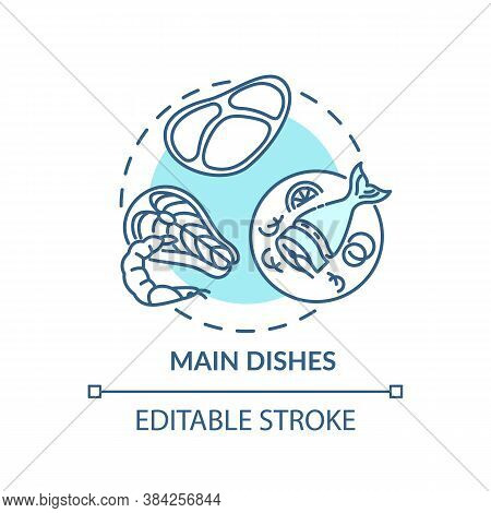 Main Dishes Concept Icon. Awesome Meal Types. Different Fresh Meat. Incredible Restaurant Menu Idea