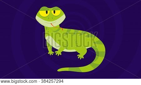 Funny And Cute Green Lizard Stuck Out It's Tongue - Flat Design. Cartoon Reptile Isolated Vector Ill