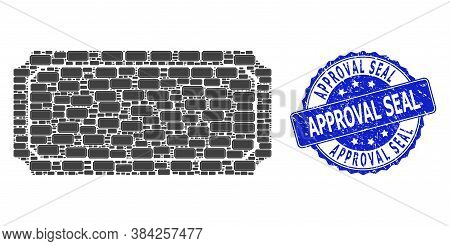 Approval Seal Textured Round Stamp Seal And Vector Recursive Mosaic Ticket Frame. Blue Seal Includes
