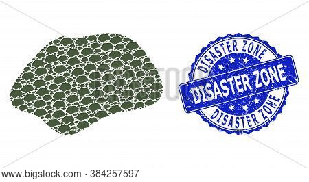 Disaster Zone Textured Round Stamp Seal And Vector Fractal Mosaic Spot Simple. Blue Stamp Seal Conta