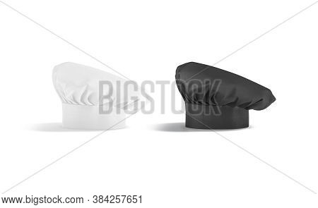 Blank Black And White Toque Chef Hat Mockup Set Stand, Isolated, 3d Rendering. Empty Chief-cooker Do