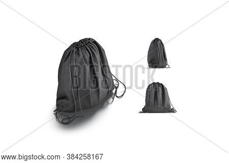 Blank Black Drawstring Backpack Mock Up, Different Views, 3d Rendering. Empty Sport Packet With Rope