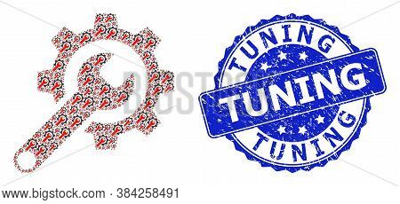 Tuning Textured Round Stamp Seal And Vector Recursive Composition Repair Tools. Blue Stamp Seal Cont