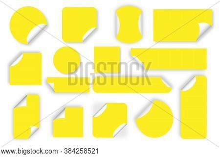 Set Of Colorful Round Adhesive Stickers With Folded Edges. Sticker Of Different Shapes With Curled C