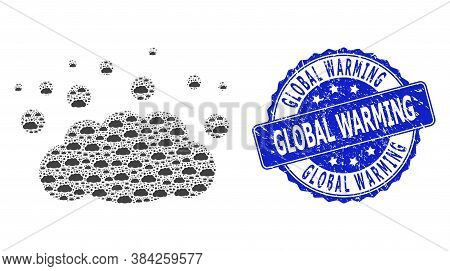 Global Warming Unclean Round Seal Imitation And Vector Recursive Collage Cloud Emission. Blue Stamp