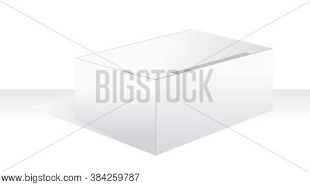 White Large Box Illustration, Template Package For Industry
