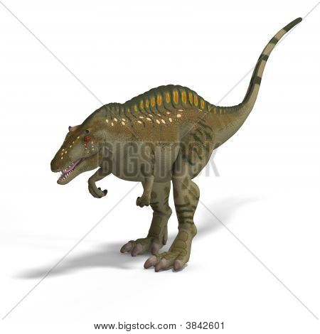 Dinosaur Acrocanthosaurus With Clipping Path over White poster