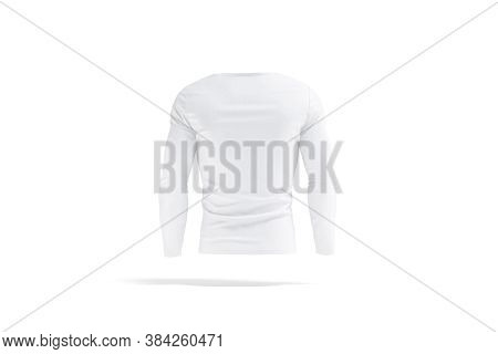 Blank White Longsleeve T-shirt Mock Up, Back View, 3d Rendering. Empty Fitness Slim Tee-shirt With L