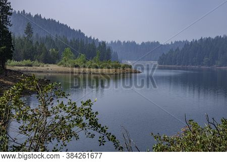 Forest Reflections In A Small Lake In Northern California In Sugar Pine State Park In Tahoma, Califo