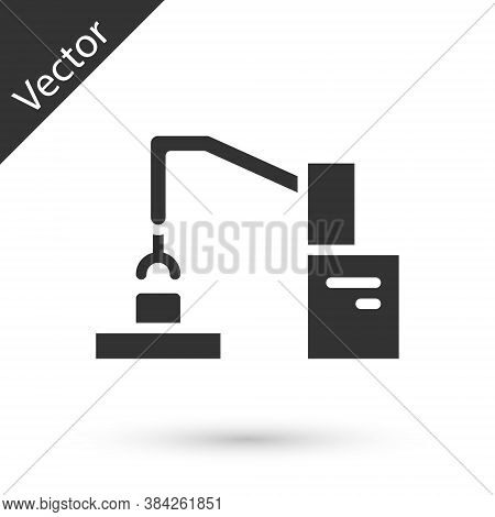 Grey Industrial Machine Robotic Robot Arm Hand Factory Icon Isolated On White Background. Industrial