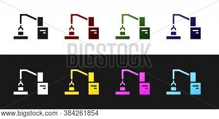 Set Industrial Machine Robotic Robot Arm Hand Factory Icon Isolated On Black And White Background. I