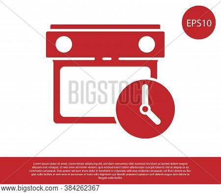 Red Calendar And Clock Icon Isolated On White Background. Schedule, Appointment, Organizer, Timeshee