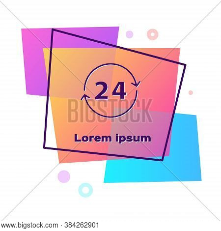 Purple Clock 24 Hours Icon Isolated On White Background. All Day Cyclic Icon. 24 Hours Service Symbo
