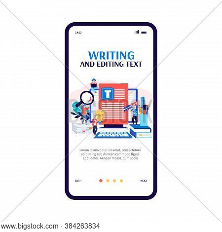Mobile App Interface On Phone Screen For Copywriter Or Blogger. Creating Quality Content, Writing An