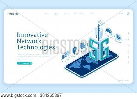 5g Network Technologies Isometric Landing Page. Innovative Wireless Mobile Telecommunication New Gen