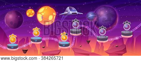 Space Game Level Map With Spaceship And Alien Planets, Cartoon 2d Gui Landscape, Computer Or Mobile