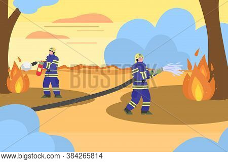 Professional Crew Of Firemen Fighting Fire In Wildland Forest Using Water Hose And Wearing Special U