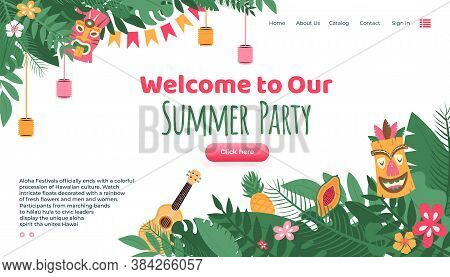 Aloha Festival Summer Party Landing Page For Website Decorated With Traditional Masks And Hawaiian G