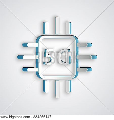 Paper Cut Computer Processor 5g With Microcircuits Cpu Icon Isolated On Grey Background. Chip Or Cpu