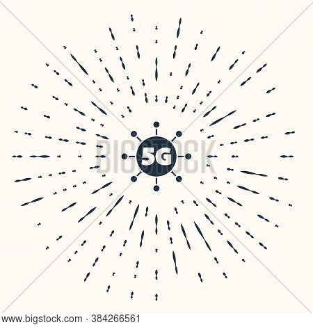 Grey 5g New Wireless Internet Wifi Connection Icon Isolated On Beige Background. Global Network High