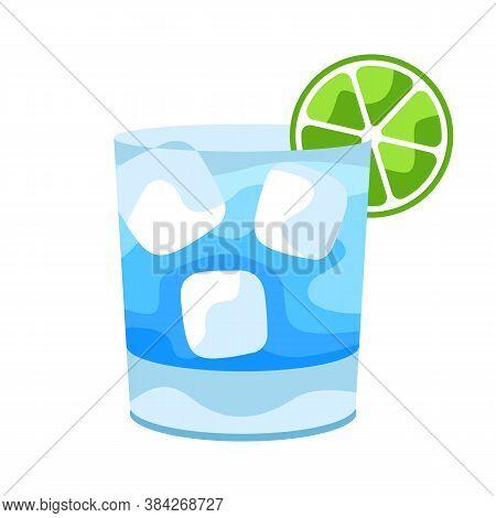 Gin And Tonic Cocktail Illustration. Stylized Image Of Alcoholic Beverage.
