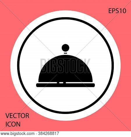 Black Covered With A Tray Of Food Icon Isolated On Red Background. Tray And Lid. Restaurant Cloche W