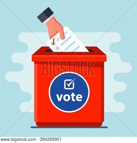 Ballot Box. Throw The Ballot In The Slot. Flat Vector Illustration.